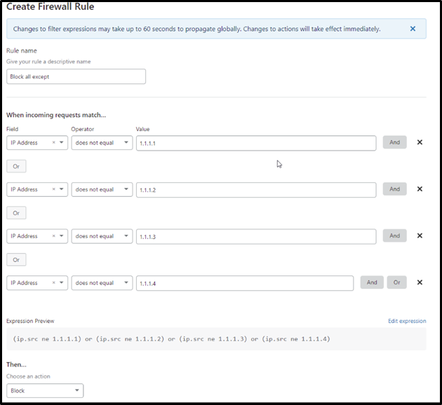 Configuring cloudflare stateful firewall